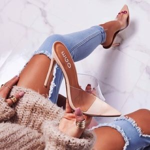 NWT! Nude Pointed Toe Perspex (Clear) Mules